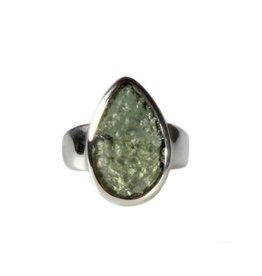 Zilveren ring moldaviet maat 17 1/2   druppel 1,8 x 1,1 cm