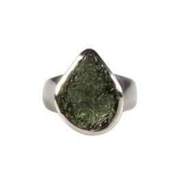 Zilveren ring moldaviet maat 17   druppel 1,5 x 1,2 cm