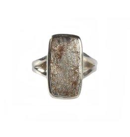Zilveren ring meteoriet maat 17 3/4 | rechthoek 1,8 x 1 cm