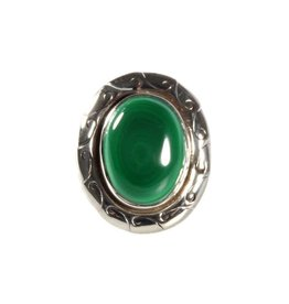 Zilveren ring malachiet maat 17 1/4 | ovaal 1,9 x 1,4 cm