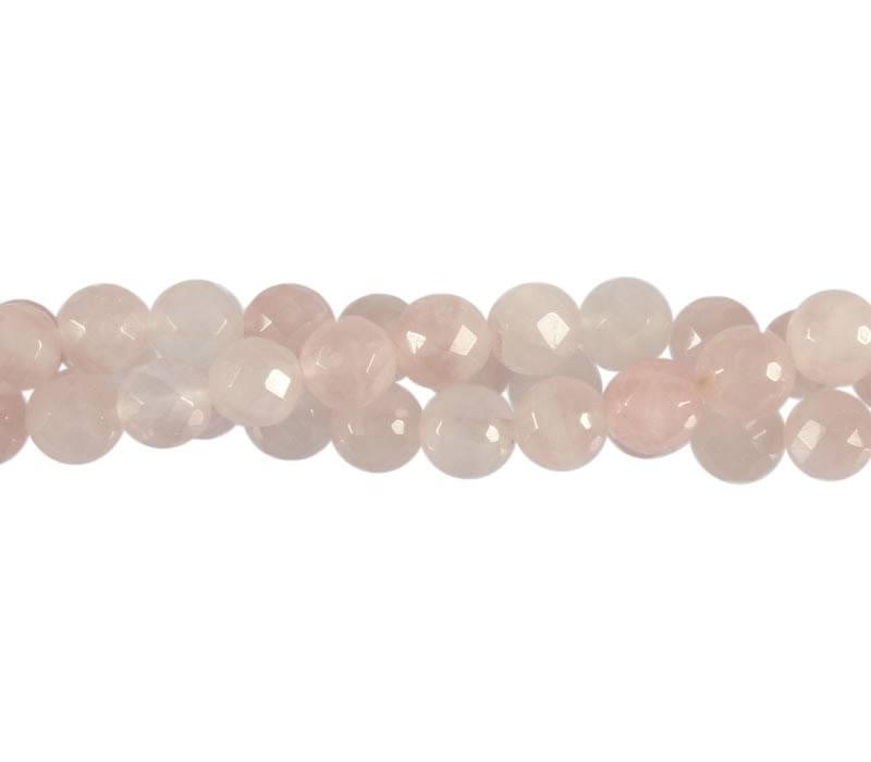 Rozenkwarts kralen rond facet 8 mm (streng van 40 cm)