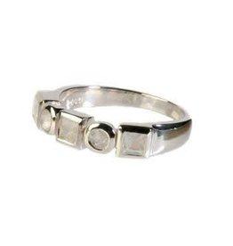 Zilveren ring maansteen (regenboog) maat 17 1/4 | 5 stenen