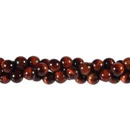 Tijgeroog (rood) kralen rond 8 mm (streng van 40 cm)