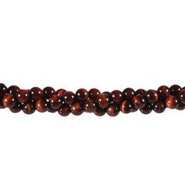 Tijgeroog (rood) kralen rond 6 mm (streng van 40 cm)