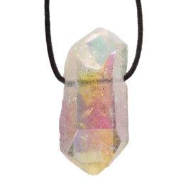Angel aura kwarts hanger doorboord kristal