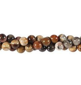 Versteend hout kralen rond 8 mm (streng van 37,5 cm)