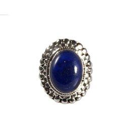 Zilveren ring lapis lazuli maat 16 3/4   ovaal bolletjes 1,7 x 1,3 cm