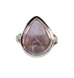Zilveren ring kunziet maat 17 1/2 | druppel 1,6 x 1,4 cm