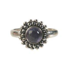 Zilveren ring ioliet maat 17 1/4 | rond bolletjes