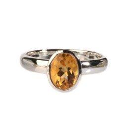 Zilveren ring citrien (verhit) maat 17 1/4 | ovaal glad 8 x 6 mm