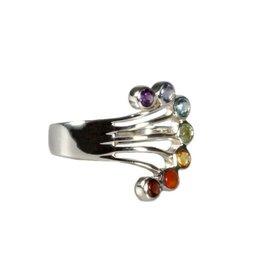 Zilveren ring chakra waaier maat 18