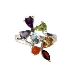 Zilveren ring chakra bloem maat 20