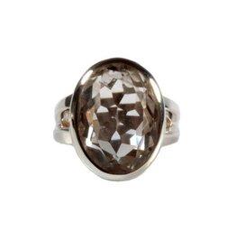 Zilveren ring bergkristal maat 17 1/2   ovaal facet 19 x 13 mm
