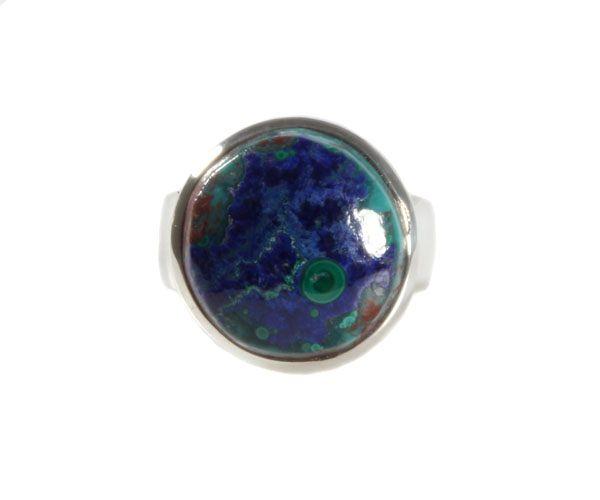 Zilveren ring azuriet-malachiet maat 18 3/4 | rond 1,6 cm