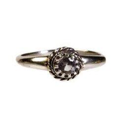 Zilveren ring azeztuliet maat 18 | facet rond