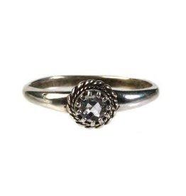 Zilveren ring aquamarijn maat 16 1/2 | rond klein