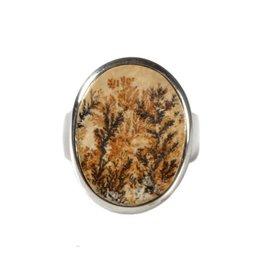 Zilveren ring agaat (dendritisch boom) maat 18 1/2 | ovaal 2,3 x 1,8 cm