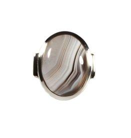 Zilveren ring agaat (Botswana) maat 19 3/4 | ovaal 2,1 x 1,5 cm