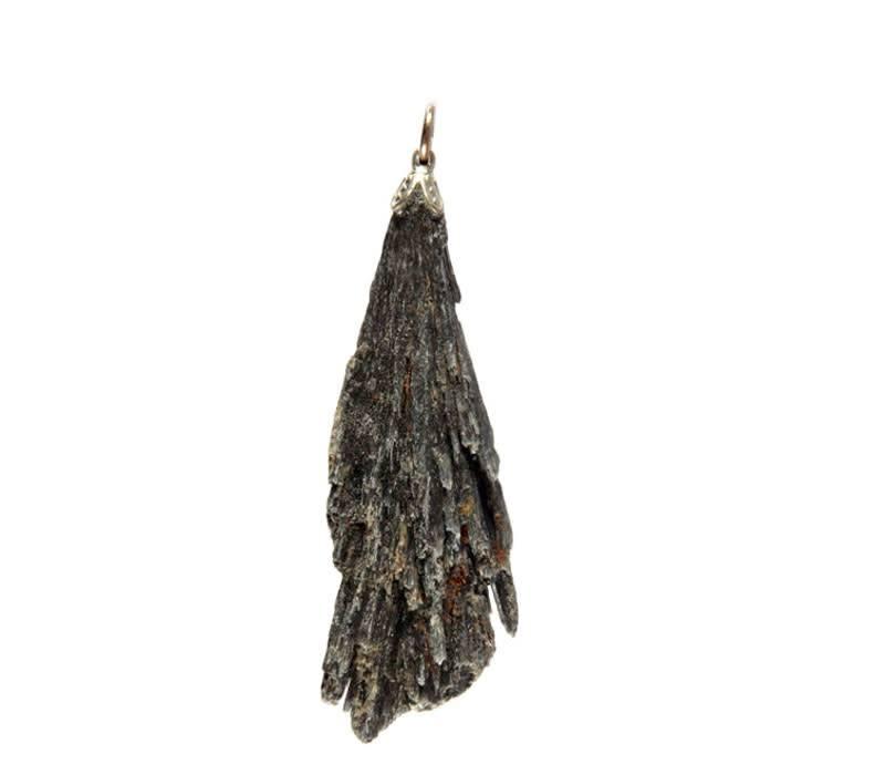 Kyaniet (zwart) hanger ruw