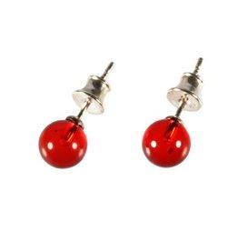 Zilveren oorstekers barnsteen (rood) bol 8 mm