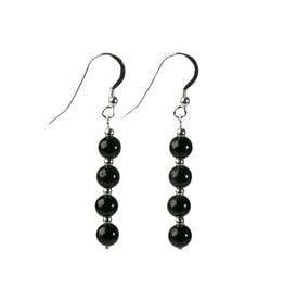 Zilveren oorbellen obsidiaan (zwart) 4 bolletjes
