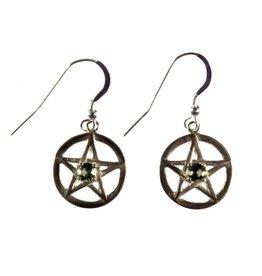 Zilveren oorbellen moldaviet pentagram