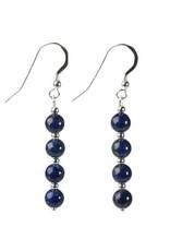 Zilveren oorbellen lapis lazuli 4 bolletjes