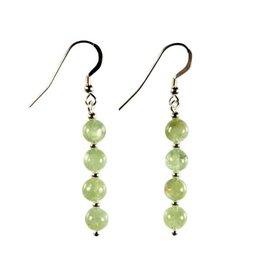 Zilveren oorbellen kyaniet (groen) 4 bolletjes