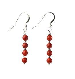 Zilveren oorbellen koraal (rood gekleurd) 4 bolletjes