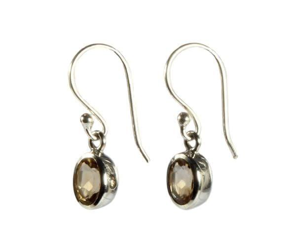 Zilveren oorbellen citrien (verhit) ovaal facet 7 x 5 mm