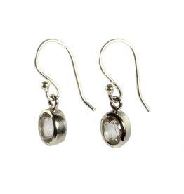 Zilveren oorbellen bergkristal ovaal facet 7 x 5 mm