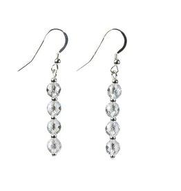 Zilveren oorbellen bergkristal facet 4 bolletjes