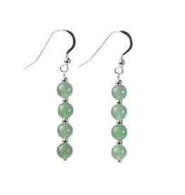 Zilveren oorbellen aventurijn (groen) 4 bolletjes