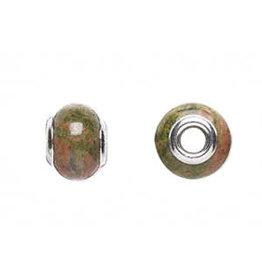 Zilveren kraal unakiet rondelle