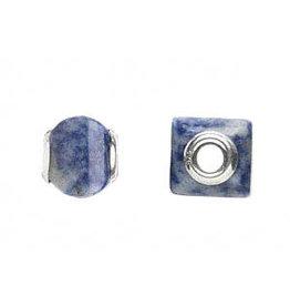 Zilveren kraal sodaliet vierkant