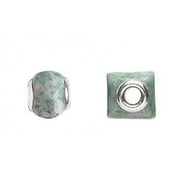 Zilveren kraal jade (Ching Hai) vierkant
