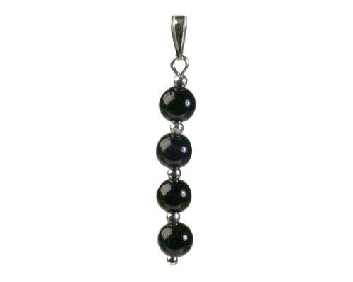 Zilveren hanger toermalijn (zwart) 4 bolletjes