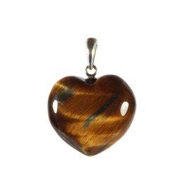 Zilveren hanger tijgeroog hart 20 mm