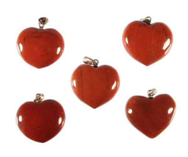 Zilveren hanger jaspis (rood) hart 2 cm