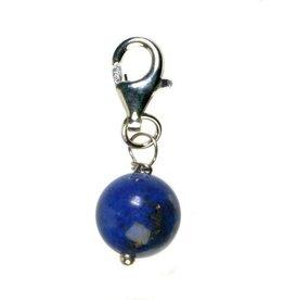 Zilveren bedeltje lapis lazuli rond