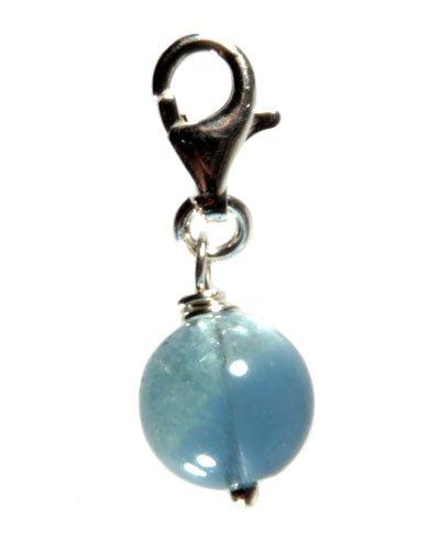 Zilveren bedeltje fluoriet (blauw) rond