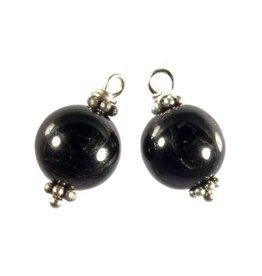 Zilveren bedels toermalijn (zwart) voor creolen (2 stuks)