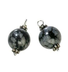 Zilveren bedels obsidiaan (sneeuwvlok) voor creolen (2 stuks)