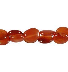 Carneool kralen ovaal 16 x 14 mm (streng van 40 cm)