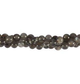 Maansteen (grijs) kralen rond 6 mm (streng van 40 cm)