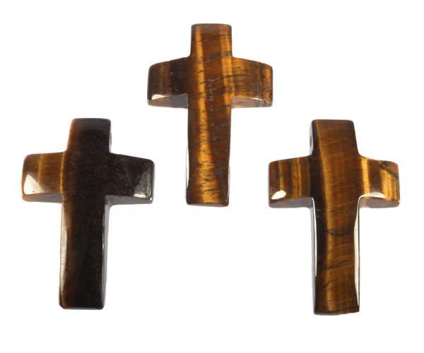 Tijgeroog hanger kruis doorboord