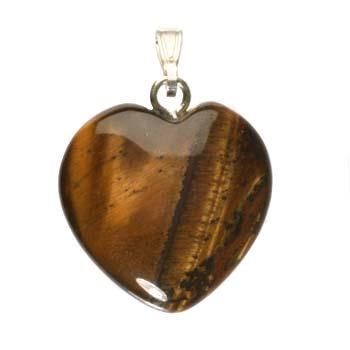 Tijgeroog hanger hart 20 mm