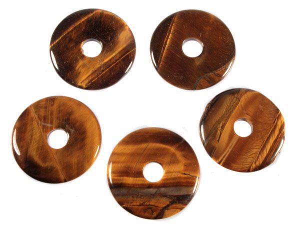 Tijgeroog hanger donut 4 cm