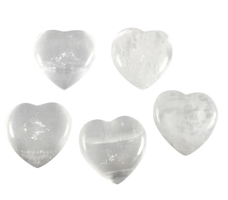 Seleniet edelsteen hart 4 cm