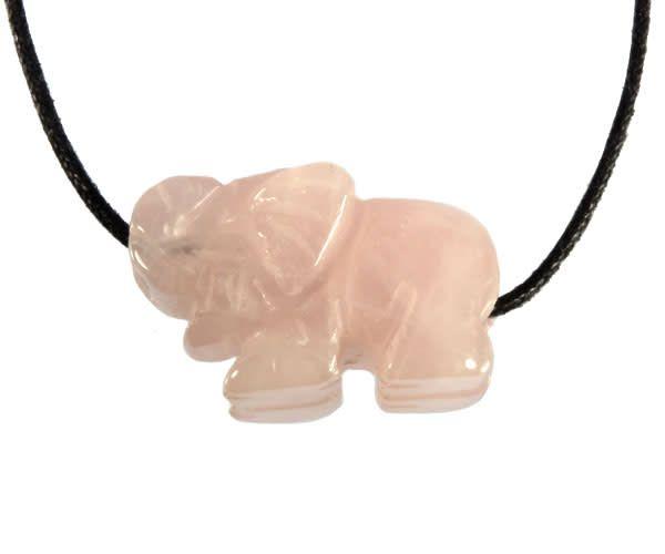 Rozenkwarts hanger olifant doorboord